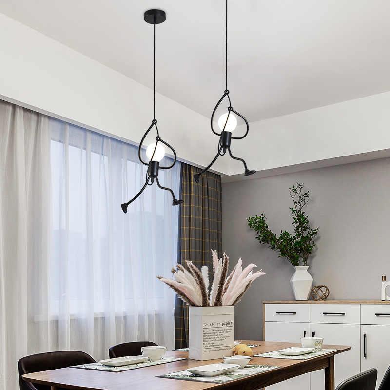 FÜHRTE Anhänger Licht Nordic Wenig Eisen Mann Hängen Lampe Retro Lotf Leuchte Küche Restaurant Home Dekorative Lichter