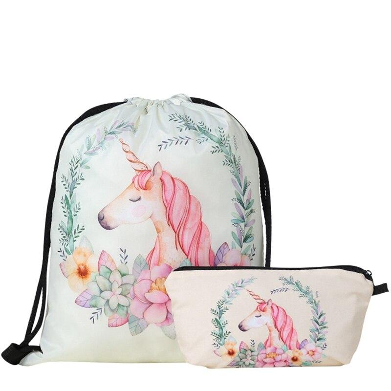Unicorn Pattern Women Drawstring Bag For Student Drop Shipping