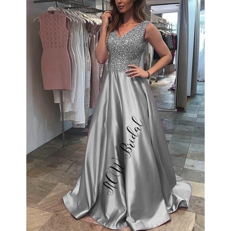 Luxury Sliver Beads Arabic   Evening     Dress   A Line V Neck Floor Length Long Prom Gowns 2019 Custom Made Formal Women Occasion   Dress