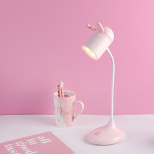 Artpad Mini Cute Antlers Bedside Table Lamp Rechargeable Led, Children Study Book Desk Lamp Touch Dimmer Dimming Brightness Lamp