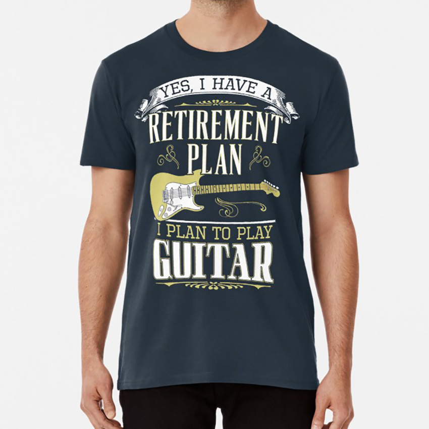 Guitar - Retirement Plan T shirt guitar men player rock music classic retro vintage roll bass Oversized image