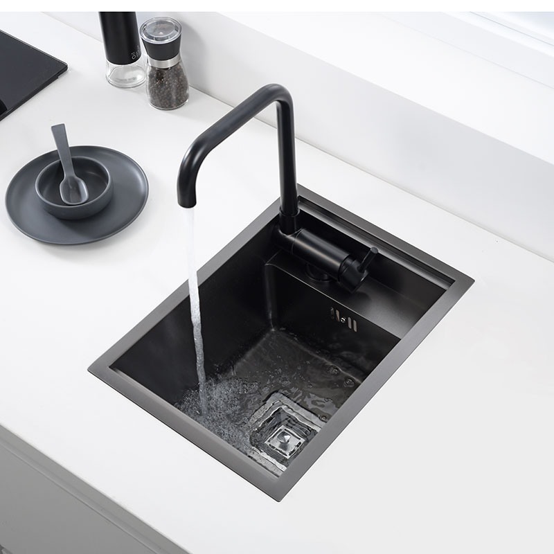Black Counter Invisible Kitchen Sink Stainless Steel Manual Single Slot Nakajima Small Sink Balcony Pool Hidden Sink 40x35cm