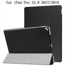 Camurça sólida caso de couro do plutônio ipad pro 12 9 12.9 2017 a1671 2015 a1652 tablet caso suporte capa para computador inteligente sono capa