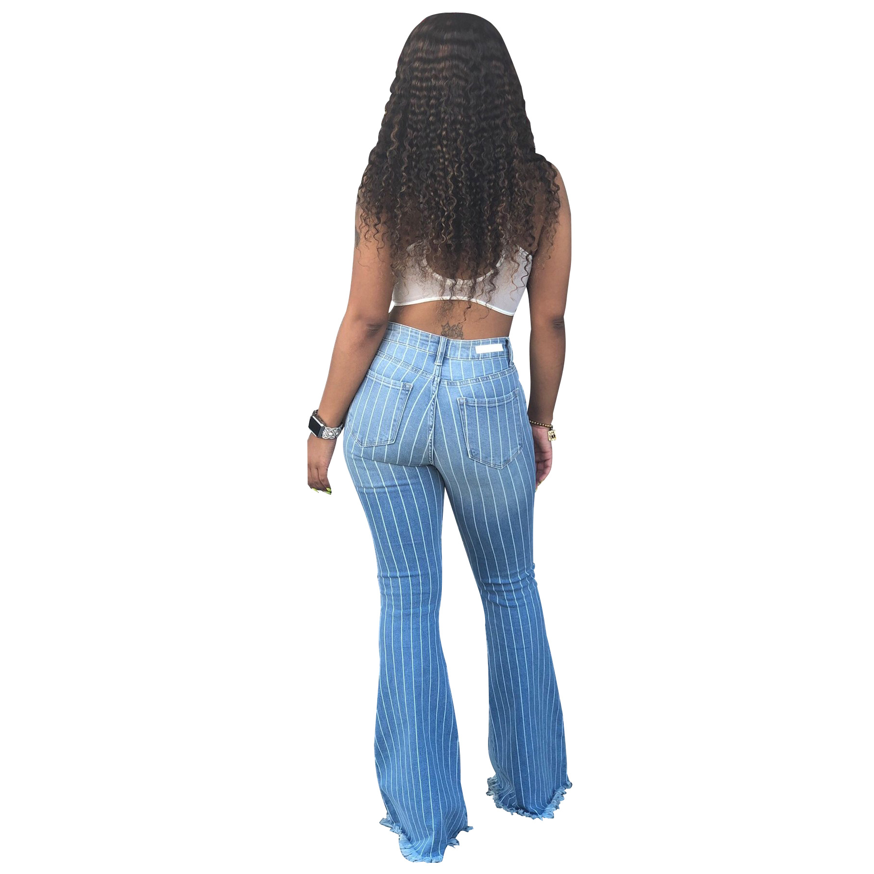 Women 39 s High Waist Flare Jeans 2019 Summer Fashion Ladies Stripe Denim Jeans Female Casual Wide Leg Skinny Cowboy Trousers in Jeans from Women 39 s Clothing