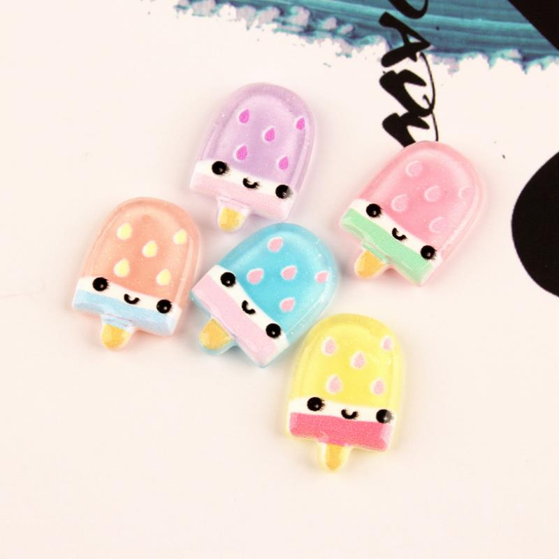 10 Pcs/lot Exquisite DIY Resin Patch Smile Face Ice Cream Figurine Crafts Toy Hair Storage Box Accessories Kids Craft Toy Gift