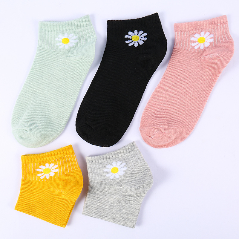 Elifashion Spring Summer Female Boat Socks Low Socks Candy Color Socks Fashion Small Daisy Short Socks Breathable Invisible Sock