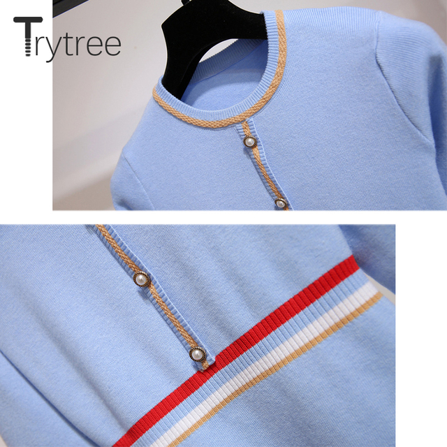Trytree 2020 Autumn Winter Women Casual Dress O-neck Knitting Spliced Fashion Elegant Button A-line Mini Office Lady Dress 5