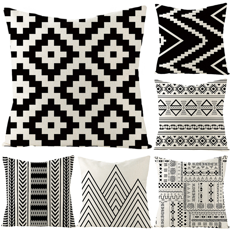 Black And White Geometry Flax Pillow Cover Customizable