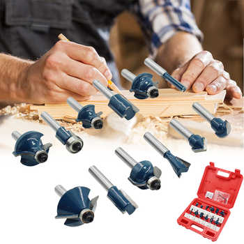"""12pcs 1/4\"""" Shank Wood Router Bits Woodworking Milling Cutters Engraving Milling Cuttings Tools Wood Trimmer With Box - DISCOUNT ITEM  40 OFF Tools"""