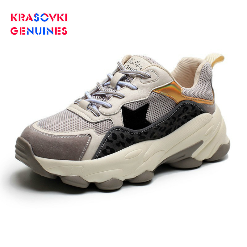 Krasovki Genuines Sneakers Women Autumn Fashion Dropshipping Round Toe Sewing Mixed Colors Thick Bottom Leisure Lace Women Shoes