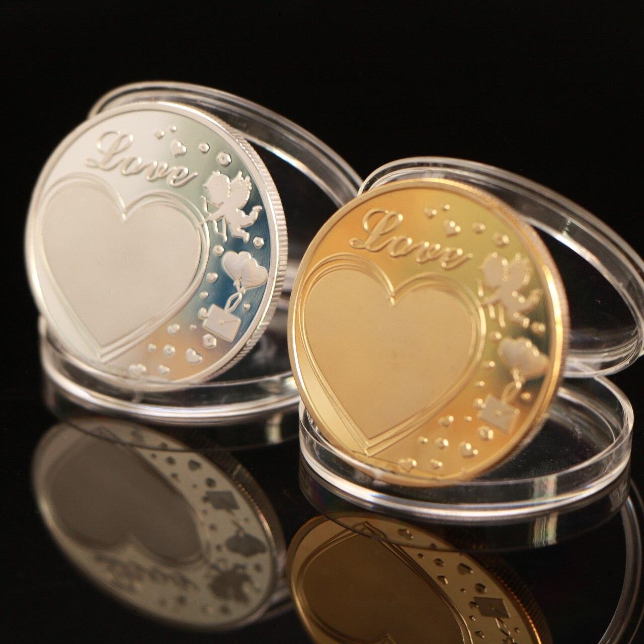 Новая памятная монета в форме сердца, цветок, любовь, коллекция монет, сувенир, серебро, золото, искусство, подарки, домашний декор
