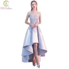 Venta de liquidación elegante vestido de noche de satén gris para banquete parte delantera corta alta/Baja apliques de lazo trasero largo vestido de fiesta Formal