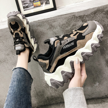 Women Chunky Sneakers Platform Thick Sole Ladies Casual Vulcanize Shoes Web Celebrity Dad female fashion Lady Sneakers Designer new women platform chunky sneakers lace up casual vulcanize shoes designer dad female fashion sneakers 2019 women shoes