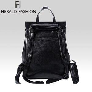 Image 4 - HERALD FASHION Genuine Leather Backpack Vintage Cow Split Leather Women Backpack Ladies Shoulder Bag School Bag for Teenage Girl