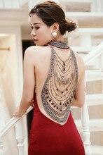2019 Luxury Sleeveless Full Diamond High-neck Sexy Evening Dresses Burgudny Beading Gowns Prom Dress Vestidos de Festa