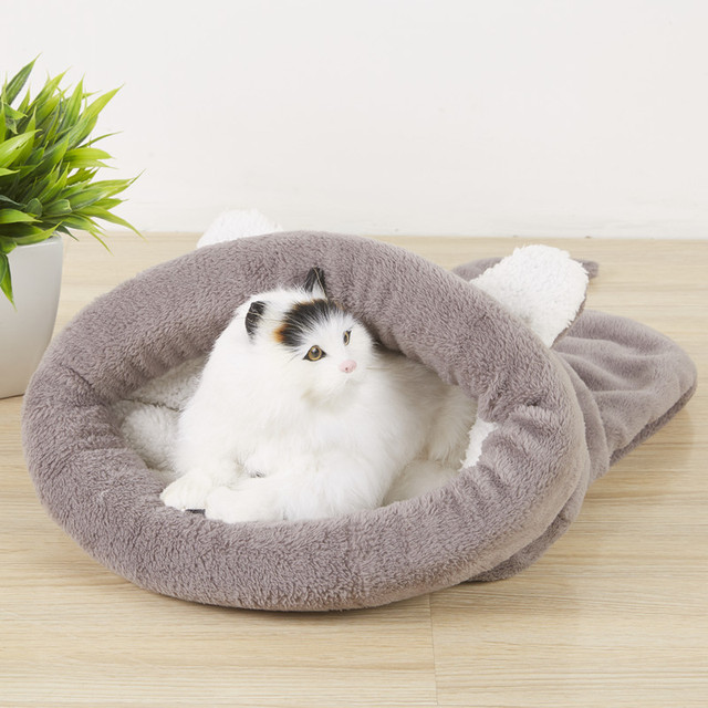 Warm Coral Fleece Cat Sleeping Bag Bed For Puppy Small Dogs Pets Cat Mat Bed Kennel House Soft Warm Sleeping Bed Pets supplies