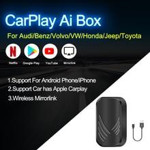 2.0 carplay ai caixa nova atualização 4 + 32g sem fio espelho ligação carplay caixa de tv para audi benz vw volvo kia jeep honda toyota hyundai