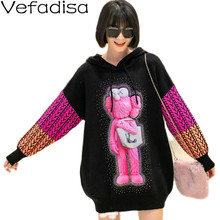 Vefadisa Diamond Cartoon Print Women Sweater 2021 Spring Autumn Plus Size Patchwork Coat Hooded Pullover Knitted QYF4318
