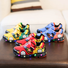 Boys luminous Sneaker Girls Spiderman Kids Led Sports Shoes With Lights  Spring running Children Toddler Baby Autumn
