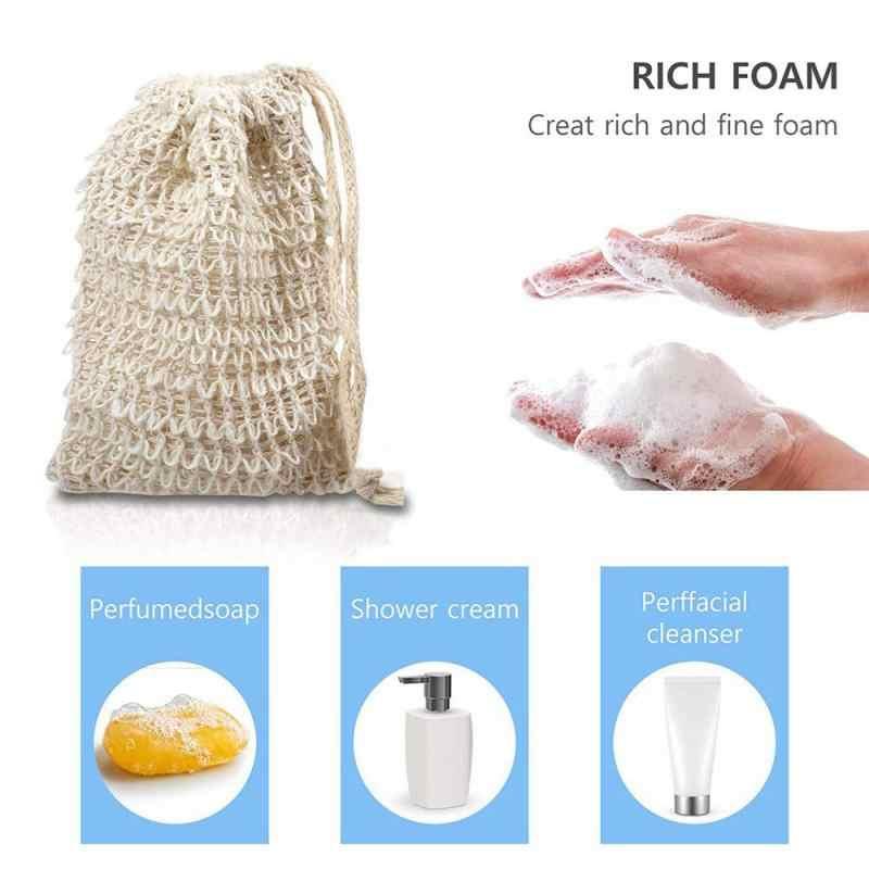 Sisal Hemp Soap Bag 1 Pieces Foam Blister Maker Double Layer Soap Net Easy Foam Bubble Mesh Bag Bathroom Cleaning Tools