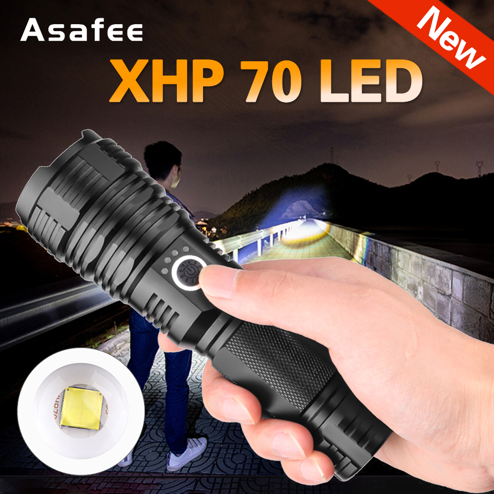 New Powerful LED Flashlight XHP70 Rechargeable Torch USB Zoom Lantern Camping Hunting Lamp Use 18650 26650 Battery