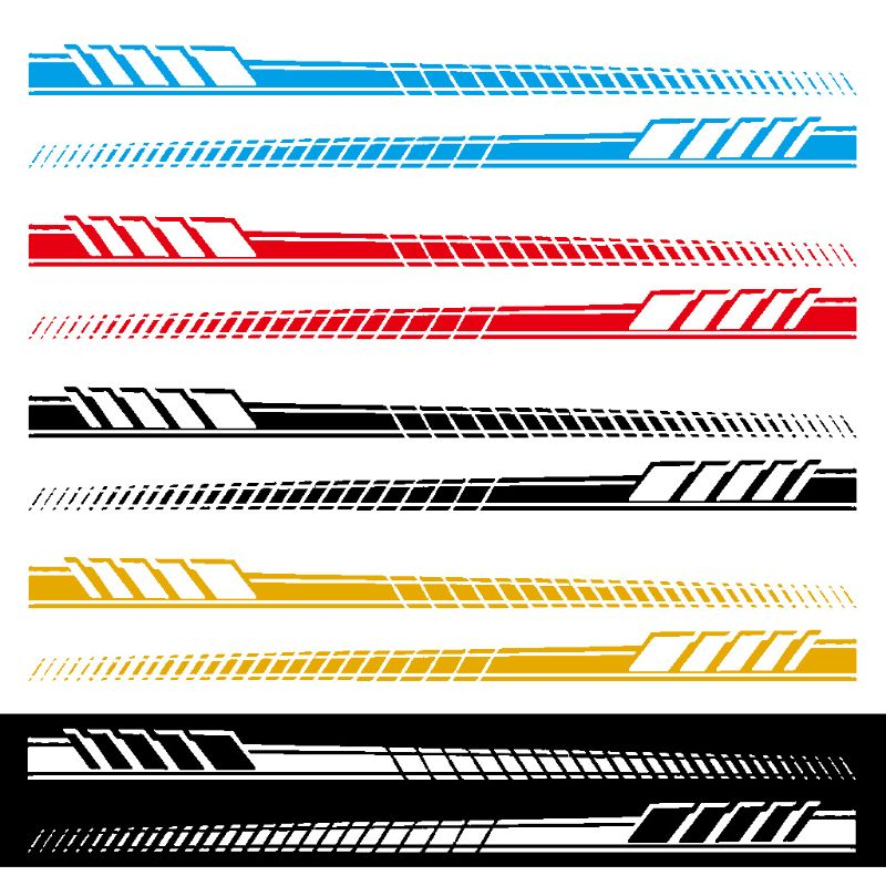 Black 2pcs Side Body Vinyl Decals Long Stripe Stickers for Mercedes-Benz