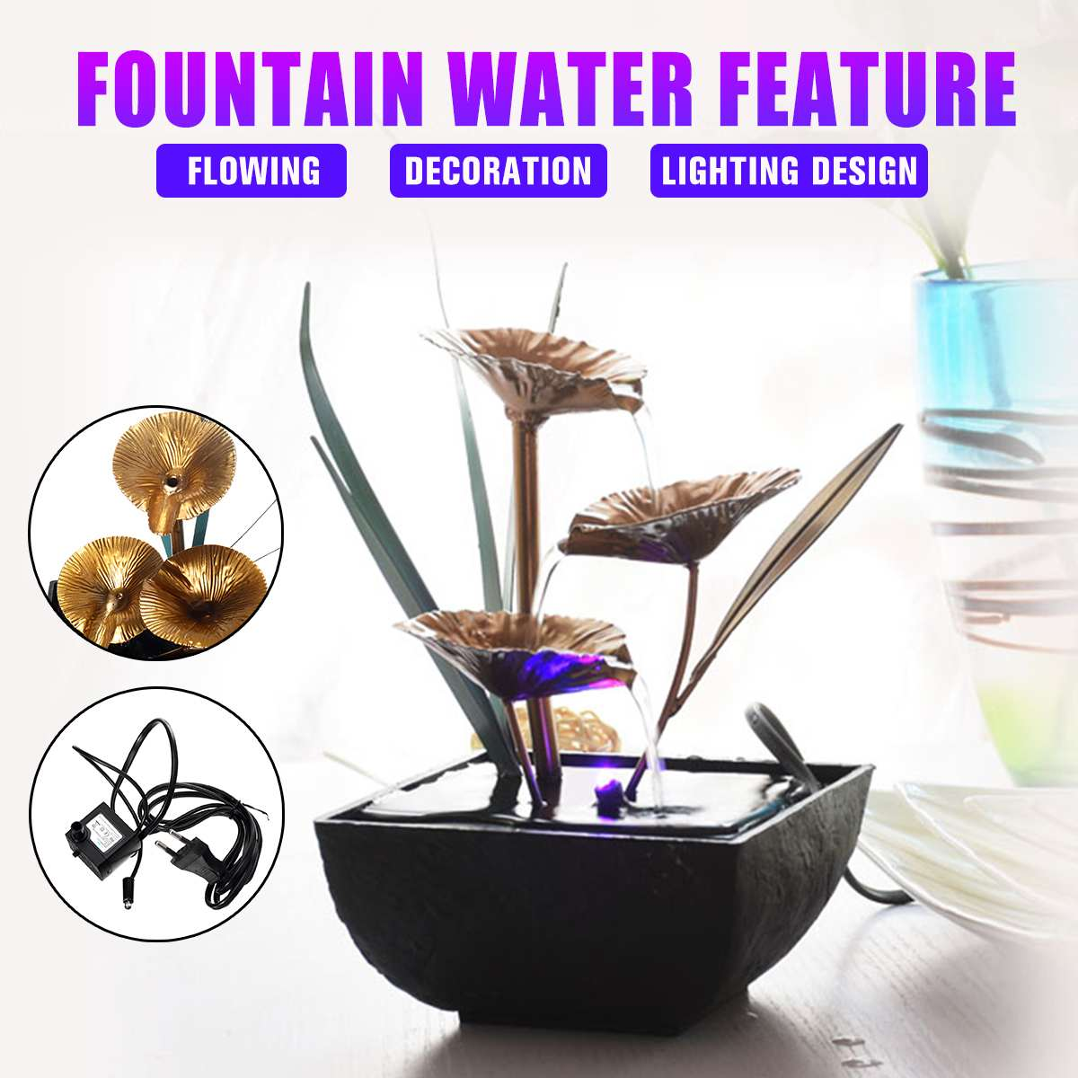 <font><b>Decorative</b></font> Indoor <font><b>Water</b></font> <font><b>Fountains</b></font> Lotus <font><b>Fountain</b></font> Resin Crafts Gifts Feng Shui Wheel Desktop <font><b>Water</b></font> <font><b>Fountain</b></font> for <font><b>Home</b></font> Office Decor image