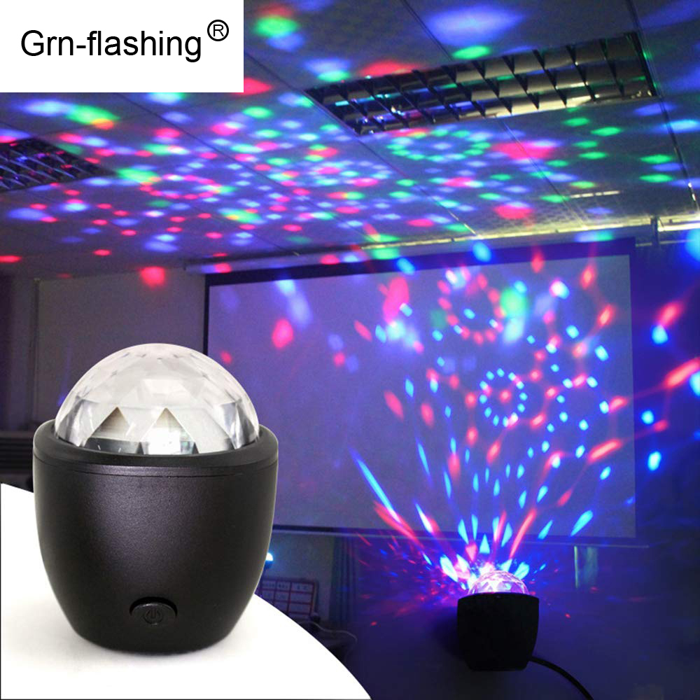 DC  DJ Light Stage Disco Lights Strobe Party Effect Lighting Voice Control 3W RGB Mini Ball Lamp For KTV Home Decorative Gift
