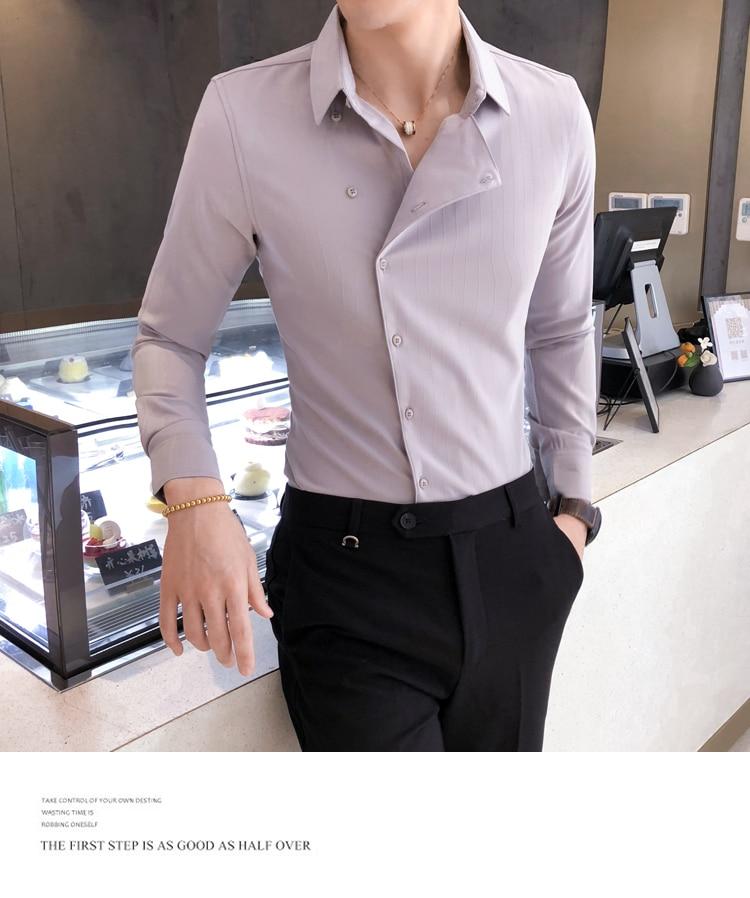 H8ca6f0f3abd743729bf3460fdd549586u Solid Color Shirt Dress Brand New Slim Fit Men Shirt Solid Long Sleeve Shirts Men Camisa Masculina Tuxedo Clothes