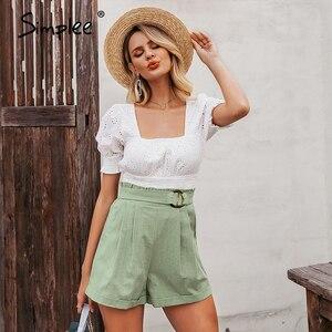 Image 4 - Simplee casual feminino cintura alta shorts sólido verde verão praia estilo férias senhoras shorts bolso anel blet faixa babados shorts