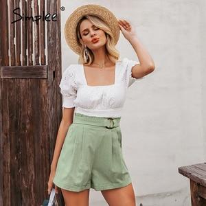 Image 4 - Simplee מקרית נשים גבוהה מותן מכנסיים מוצק ירוק קיץ חוף סגנון נופש גבירותיי מכנסיים קצרים כיס טבעת blet אבנט קפלי מכנסיים