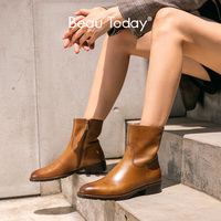 BeauToday Ankle Boots Women Genuine Cow Leather Side Zipper Closure Round Toe Lady Fashion Boots Winter Shoes Handmade 02017