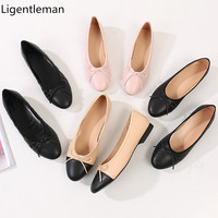 Single Shoes Woman Two Color Splicing Classic Bow Tie Ballet Shoes Shallow Round Head Large Size Low Heeled Womens Shoes Leather