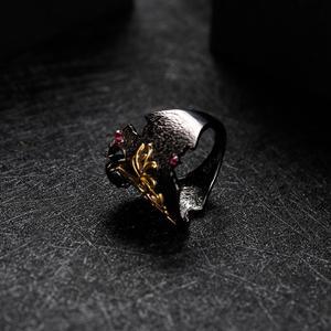 Image 4 - GEMS BALLET Natural Black Garnet Gemstones Band Ring 925 Sterling Silver Handmade Equinox Flower Rings Woman's Art Jewelry