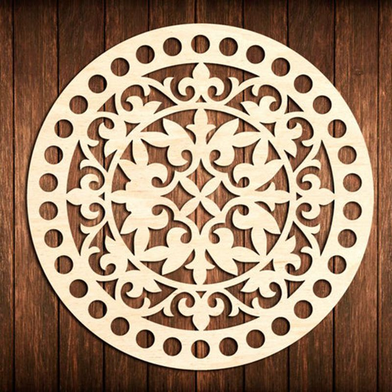 3 Pieces 20cm Flower Circle Round Wooden Base For Crochet Basket Wood Bottom Base Diy