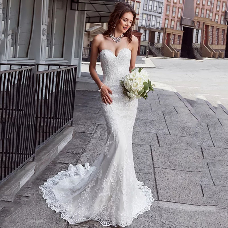 Eightree Mermaid Wedding Dress Strapless Appliques Lace Boho Wedding Gowns Vestido De Novia Backless 2020 Bride Dress Turkey