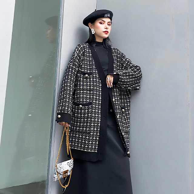 [EAM] black plaid big size Knitting Cardigan Sweater Loose Fit V-Neck Long Sleeve Women New Fashion Autumn Winter 2019 1K356 33