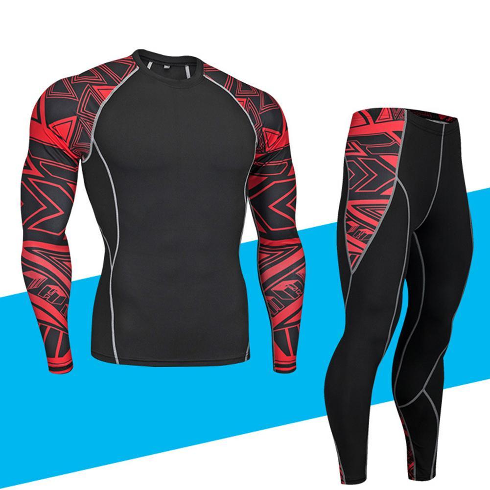 11.11 2Pcs/Set Men Sports Suit Fitness Clothing Printed Tracksuit Compression Long Sleeve Shirt Pants Workout Rashguard Tights