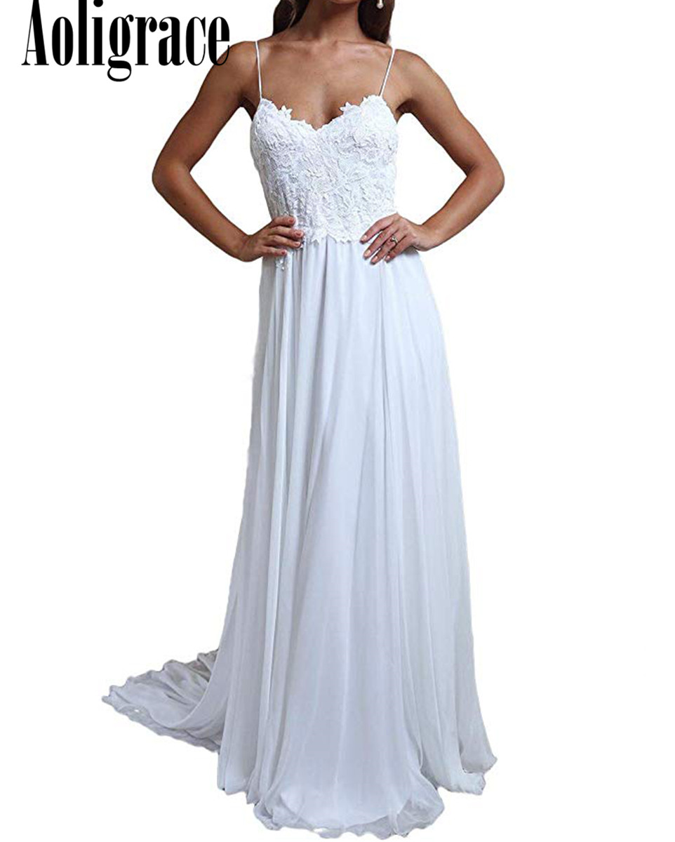 Boho Lace Beach Wedding Dresses Spaghetti Appliques Backless Sweep Train Chiffon Country Bridal Gowns Garden Vestidoe De Noiva