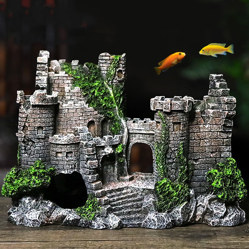 Aquarium Ancient Castle Decoration Resin Artificial Building Rocks Cave For Aquarium Fish Tank Landscaping Ornament Decor