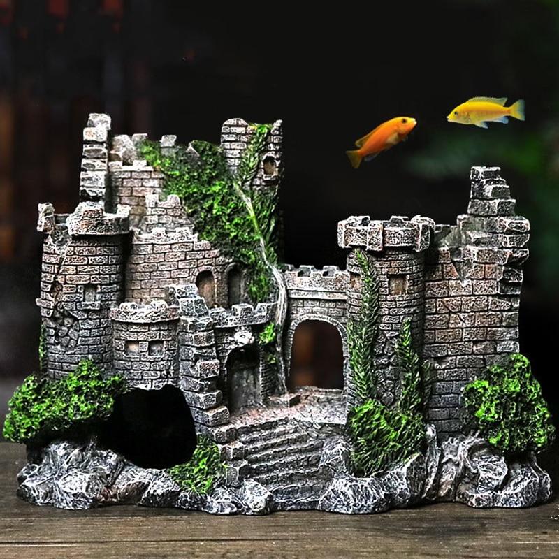 Aquarium Ancient Castle Decoration Resin Artificial Building Rocks Cave For Aquarium Fish Tank Landscaping Ornament Decor