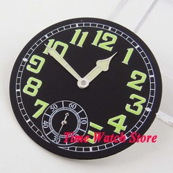 35mm black sterial dial green numbers fit 6498 hand winding movement ( Dial+hands) D59