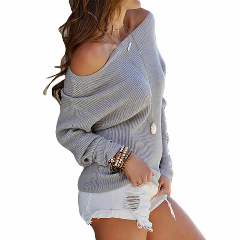 Nuevo jersey Sexy de 2019 con hombros descubiertos para mujer, Jersey de punto de manga larga de murciélago liso suelto e informal, jersey de talla grande