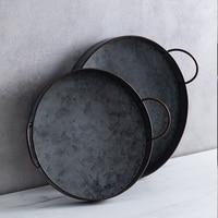 Европейская круглая железная тарелка с ручками, винтажный металлический поднос для хлеба, украшение дома, для сада, ресторана, стола, фотогр...