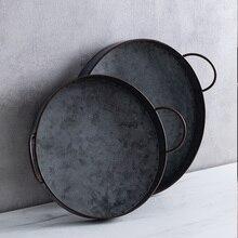 Plato de hierro redondo Retro europeo con asas bandeja de pan de Metal Vintage decoración para el hogar y jardín mesa de restaurante fotografía