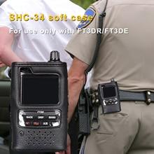 SHC 34 original walkie talkie caso de couro macio titular saco proteção para yaesu FT 3DE/FT 3DR handhled rádio em dois sentidos