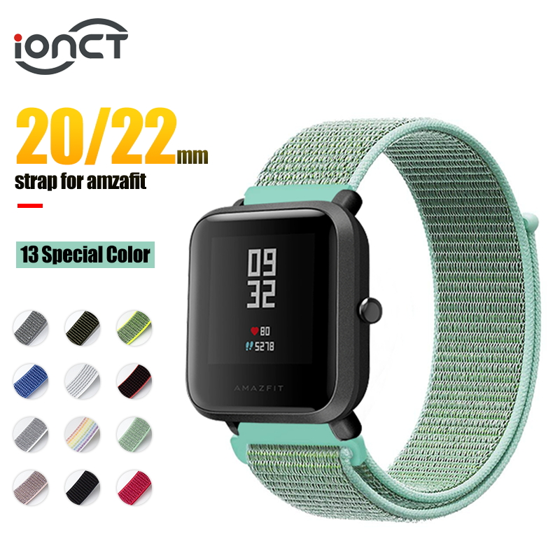 IONCT 20/22mm Sport Nylon Bracelet For Xiaomi Amazfit Bip Strap Watchband For Huami Amazfit Pace Stratos 2 GTS GTR 47MM Strap