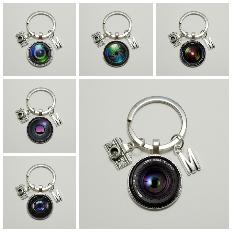Popular  26 Letter Name Keychain Camera Pendant with SLR Lens Photographer Personality Jewelry