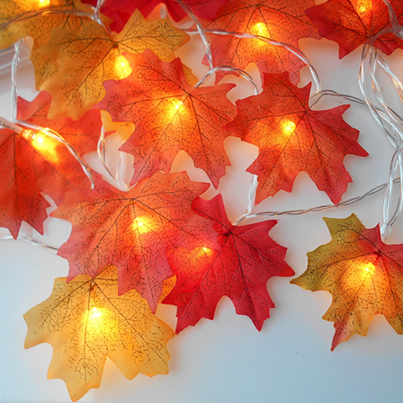 Fairy String Lights 20/30/40/100 LEDs Maple Leaves Light Outdoor Christmas Garland For Wedding Home Xmas Holiday Party Decor