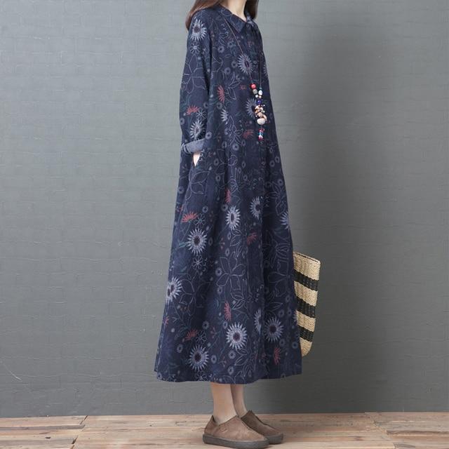 NYFS 2020 New Autumn Woman Dress Loose Vintage Cotton Printing  long Dress vestido de mujer Robe Elbise women's dress 3